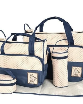 5 in 1 Multifunctional Baby Bag – Navy Dots